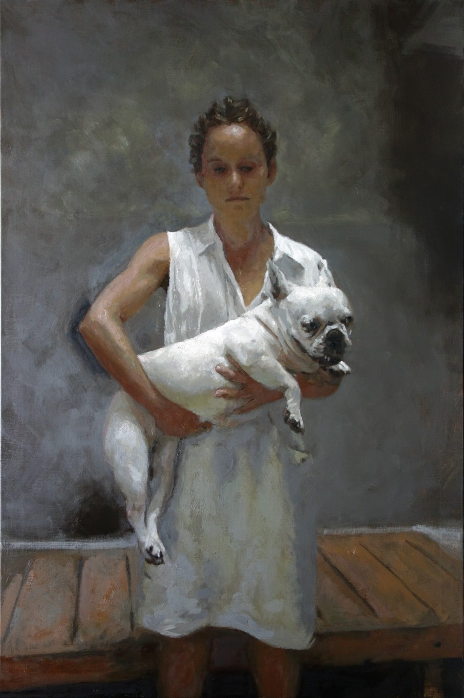Woman standing with a dog | Rafel Bestard